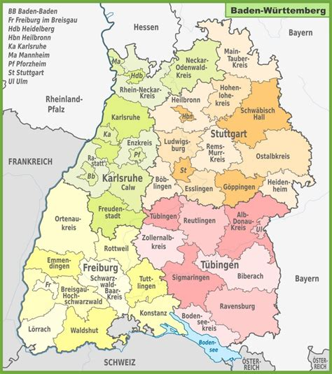 Administrative divisions map of Baden-Württemberg