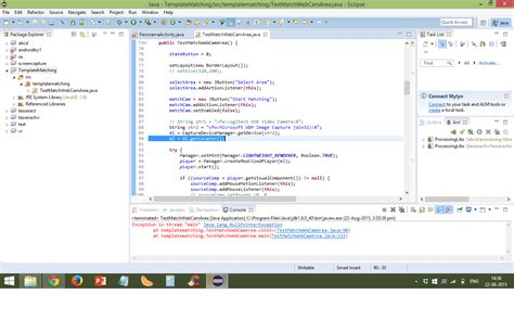 Null Pointer Exception in MatchTemplate example using