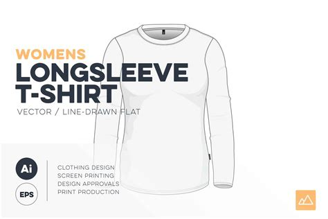 Womens Crew Neck Long Sleeve Template - VECTOR Pack