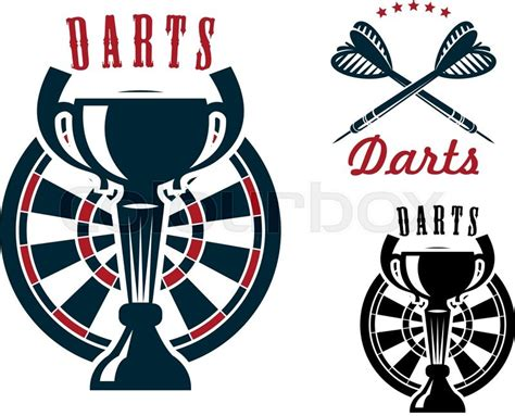 Darts game symbols with trophy cup on dartboard and
