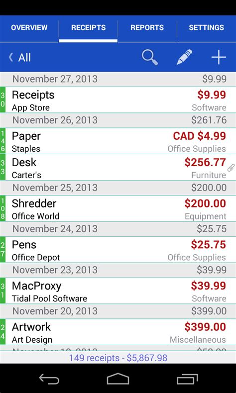 Receipts - Android - English - Evernote App Center