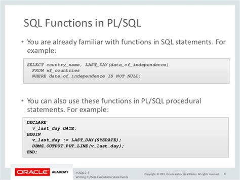Writing PL/SQL Executable Statements