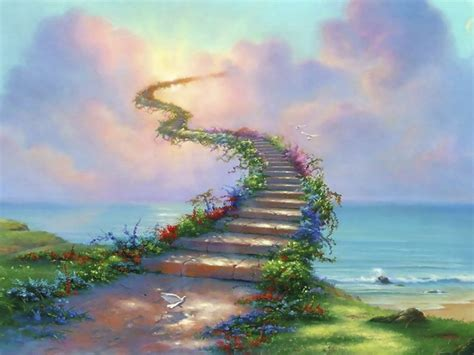 Stairway To Heaven Path Dove Clouds Abstract Ultra