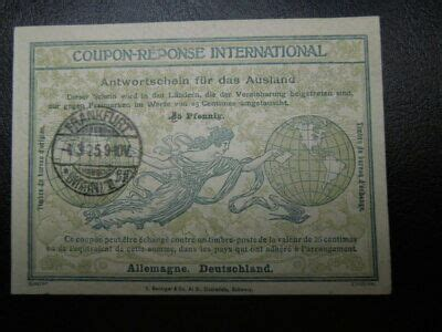 S 858 GERMANY 1925 COUPON REPONSE HANDWRITTEN OVER
