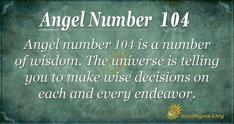 Angel Number 104 Meaning   SunSigns